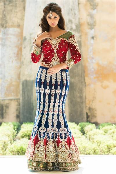 Amazing Navy Blue & Red Velvet Lehenga Choli 1