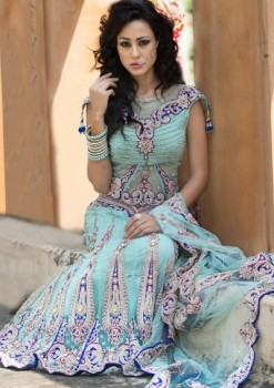 Dashing Ice Blue Net Lehenga Choli