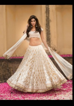 Blooming Beige Chanderi Silk Lehenga Choli