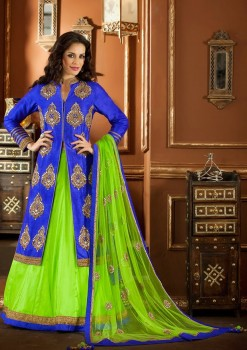 Wonderful Blue & Green Lehenga Choli In Dual Material