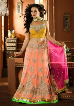 Wonderful Peach & Pink Bridal Wear Lehenga Choli