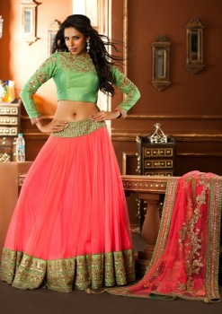 Stunning Pink & Green Lehenga Choli In Net