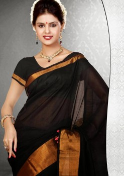Black Pure Silk Cotton Saree
