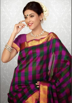 Purple & Green Pure Silk Cotton Saree