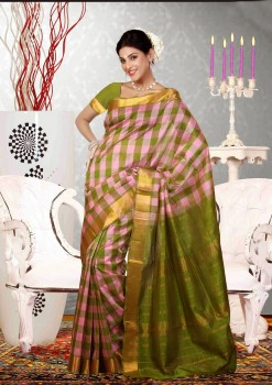 Pink & Green Pure Silk Cotton Saree
