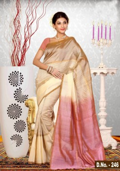 Beige & Pink Pure Silk Cotton Saree