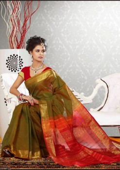 Green & Red Pure Silk Cotton Saree