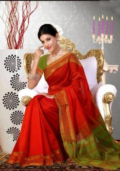 Orange & Green Pure Silk Cotton Saree