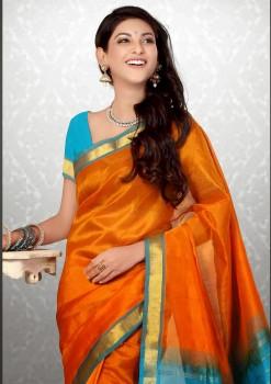 Orange & Light Pure Blue Silk Cotton Saree