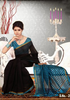 Black & Blue Pure Silk Cotton Saree