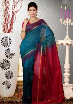 Blue & Magenta Pure Silk Cotton Saree