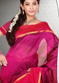 Purple Pure Silk Cotton Saree