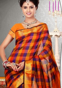 Orange & Purple Pure Silk Cotton Saree