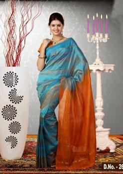 Orange & Blue Pure Silk Cotton Saree