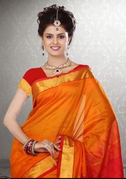 Orange & Red Pure Silk Cotton Saree