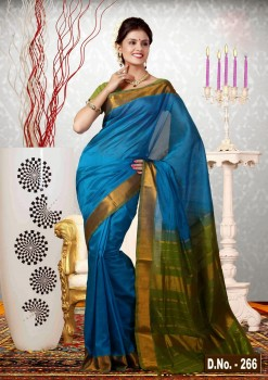 Blue & Green Pure Silk Cotton Saree