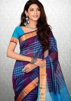 Light Blue Pure Silk Cotton Saree
