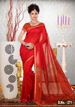 Red Pure Silk Cotton Saree