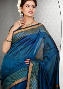 Blue Pure Silk Cotton Saree