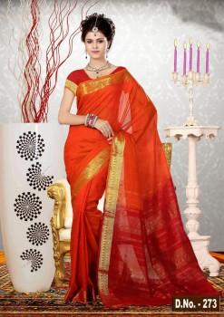 Orange Pure Silk Cotton Saree