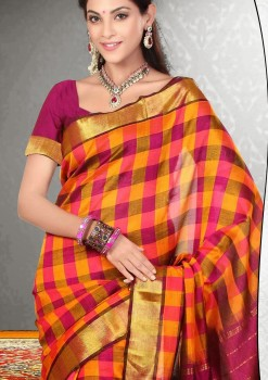 Yellow & Magenta Pure Silk Cotton Saree