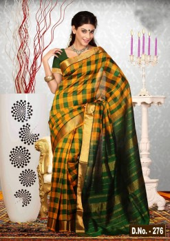 Green & Orange Pure Silk Cotton Saree