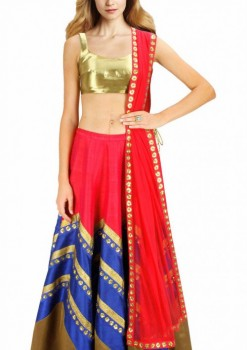 Beautiful Red And Blue Raw Silk And Net Designer Crop Top Lehenga