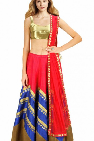 Beautiful Red And Blue Raw Silk And Net Designer Crop Top Lehenga 1