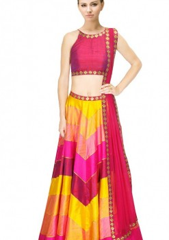 Beguiling Pink And Yellow Silk Crop Top Lehenga With Dupatta