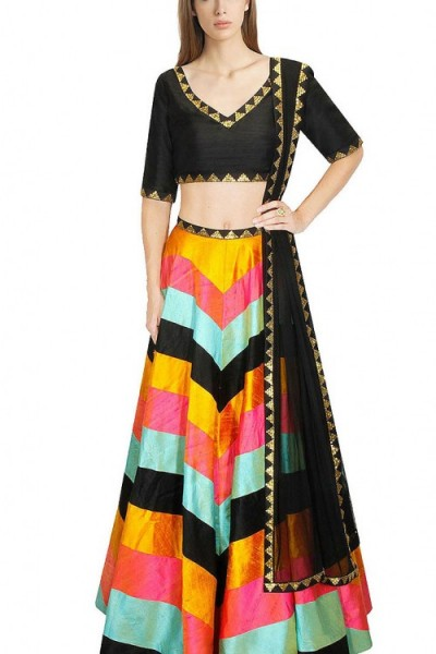Exclusive Sequins Work Multi Color Silk Crop Top Lehenga 1