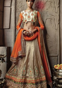 Fantastic Off White Art Silk Wedding Lehenga Choli With Orangee Dupatta
