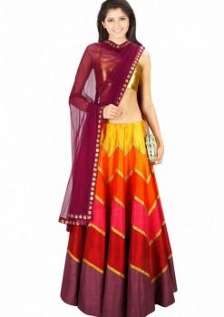 Lovely Multicolor Raw Silk And Brocade Wedding Lehenga Choli