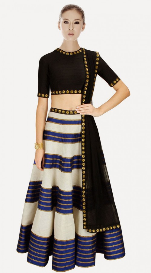 b9cb4a3a75737 Lovely Off White Raw Silk And Net Designer Crop Top Lehenga ...