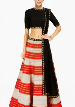 Stunning White Raw Silk Wedding Crop Top A Line Lehenga