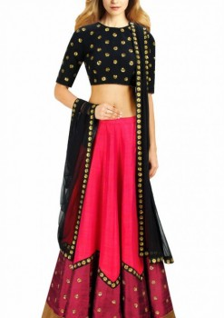 Stylish Pink Raw Silk And Net Designer Lehenga Choli