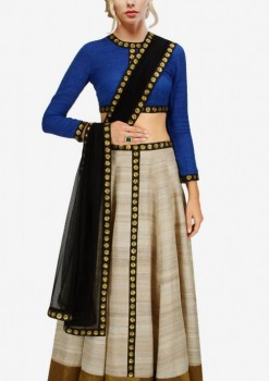 Stylish Silver Raw Silk And Net Golden Work Crop Top Lehenga