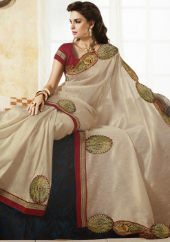Elegant White Raw Silk Saree