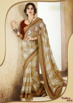 Beige & Red Festive Designer Saree