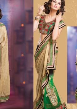 Beige & Green Alluring beautiful Designer Saree