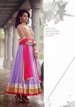 Beige & Purple Charming Diva Long Anarkali Designer Party-Wear