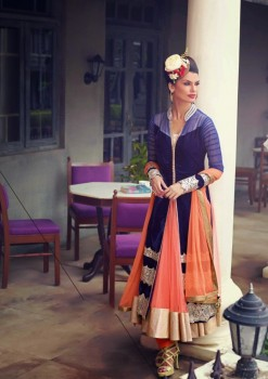Blue & Peach Charming Diva Long Anarkali Designer Party-Wear