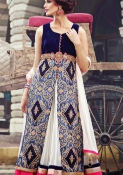 Blue Charming Diva Long Anarkali Designer Party-Wear