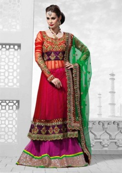 Gorgeous Multicolor Net Lehenga Choli In Resham Work