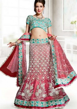 Stunning Green & Pink Net Lehenga Choli With Gotta Patti Work