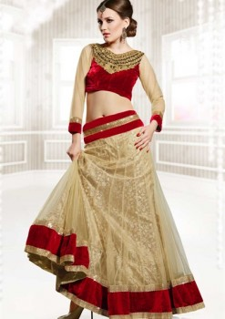 Awesome Beige & Maroon Net Lehenga Choli