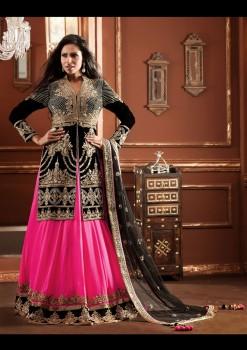 Charming Look Giving Lehenga Choli In Pink & Black