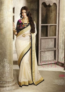 Cream & Black Most Elegant Designer Saree