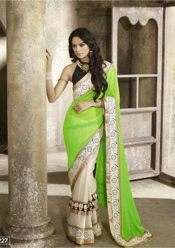 Lime Green Most Elegant Designer Saree