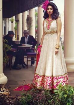 Cream & Magenta  Charming Diva Long Anarkali Designer Party-Wear