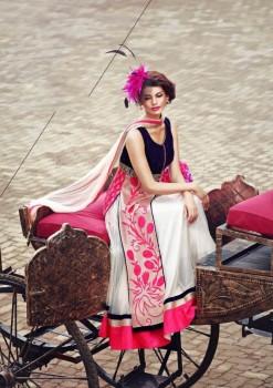 Blue & White Charming Diva Long Anarkali Designer Party-Wear